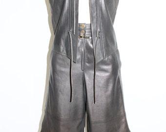 GUCCI Vintage LEATHER Suit Grey Vest Gaucho Capri Pants - AUTHENTIC -