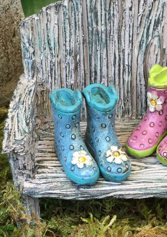 Miniature Rain Boots, Wellies, Blue with Blue Sole and White Daisy, Fairy Garden Accessory, Home and Garden Decor, Dolls and Dollhouses
