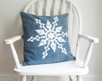 """Snowflake Pillow Cover 18"""" Square Rustic Blue Holiday Christmas Winter Home Cabin Decor Nashville Tennessee Washable Cotton Wholesale"""