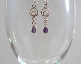 Sterling Silver Earrings Amethyst Gemstone Earrings Sterling Amethyst Earrings Amethyst Silver Earrings Purple Earrings Amethyst Drops