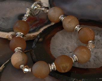 brown bracelet, druzy bracelet, Agate druzy, gemstone bracelet, taupe bracelet, swarovsky crystal, bold bracelet, boho bracelet
