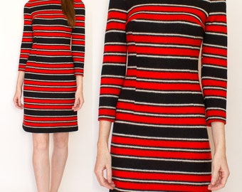 1960s Mock Neck Black Red and White Striped Sweater Dress Size S-M