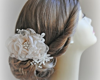 Romantic Wedding Hair Flowers, Bridal Hair Piece, Head Piece, Crystals, Pearls, Silver, Gold, Rose Gold - ECHO