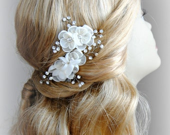 Ivory Flower Hair Pins, Wedding Combs in Silver, Hair Flowers with Crystals - DIANA