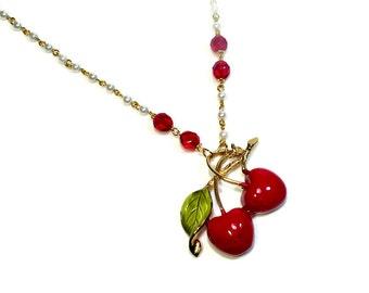 Retro Vintage Cherry Necklace, Upcycled Jewelry, Repurposed