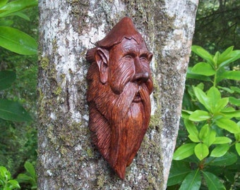 living room art, wall decor, wood sprite, hand carved elf wood spirit, unique one-of-a-kind wall art wood sculpture, gnome wood carving