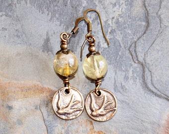 Bird Earrings, Citrine Earrings, Yellow Earrings, Natural Stone Earrings, Gemstone Earrings, Bronze Earrings, Spring Earrings, Handmade