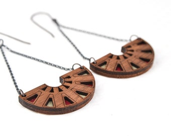 Azteca Chandelier Earring | Wine, Putty, Bronze | Intricate Geometric Wooden Jewelry For Her
