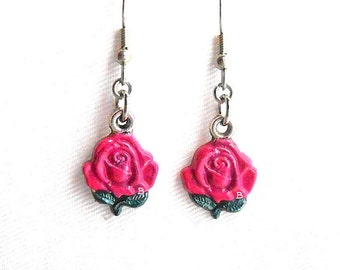 Viva Pink Rose Earrings