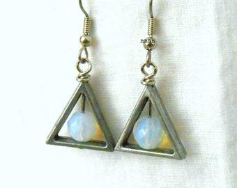 Triangle Earrings Moonstone Earrings Silver Earrings Antiqued Silver Earrings Steel Grey Surgical Steel Hooks