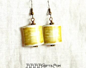 Olive Green Earrings Bronzed Earrings Beaded Earrings Surgical Steel Hooks Dangle Drop Earrings BBBBGiftsCom Acrylic Lightweight