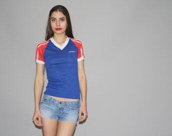 Vintage 70s Red White and Blue Mesh Sleeve Striped  Ringer  V Neck T Shirt  - Vintage 1970s  Top  - Vintage 70s Tops  -  Wz0625