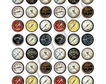 VINTAGE METERS and GAUGES Craft Circles - Industrial Dials and Gages - Instant Download Digital Printable Bottlecaps 12,16, and 20mm circles