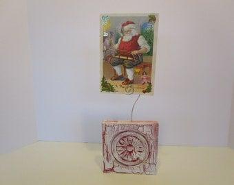 Holly Christmas Wood Block Photo Holder - Chalk Paint - Hostess Gift - Favor - Christmas Card Holder