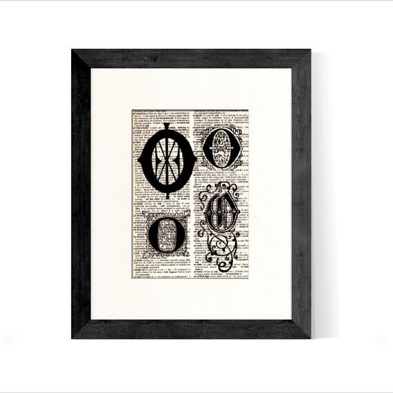 Letter O Monogrammed Intitial Art Print - Gift Home Office Decor