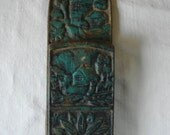 ANTIQUE IRON VERDIGRIS Wall Mount Fireplace Match Holder Verdigris Enamel Cast Iron Wall Mounted Match Light Holder Cottage Scene