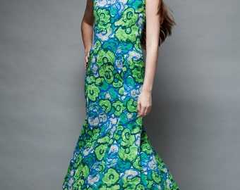 vintage 50s green fishtail maxi dress floral print fish tail flare S SMALL