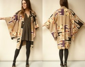 1940's Vintage Antique Silk Printed Japanese Kimono Duster Jacket Haori