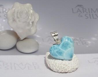 Larimarandsilver pendant, Beats of Love - aqua Larimar heart, blue heart, sky blue, siren heart, love charm, handmade Larimar pendant - A