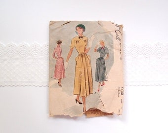 1940s dress pattern / McCall 7730 midi skirt dress with angled hip pockets, winged cuffs, V point Yoke & short long or 3/4 sleeves...sz 9/28