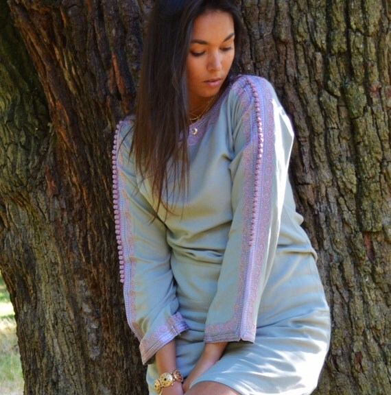 Grey Lilac Trumpet Sleeve Tunic Dress-Latishia Style- great for holiday gifts , Birthdays Gifts for her, boho dress