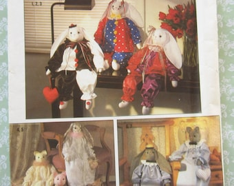 Stuffed 24 inch Bunny and Cat Dolls with Clothes, Decorative - Vintage 1980's Simplicity Crafts Pattern 9336 UNCUT