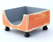 FREE SHIPPING - Wooden NAPKIN holder - Grey / Orange - Rustic style - Cottage style -  Shabby Chic