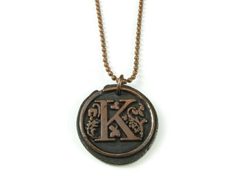Letter K Necklace   Wax Seal Initial Pendant Necklace in Copper   Double-Sided Letters   Handcrafted Personalized Monogram Jewelry
