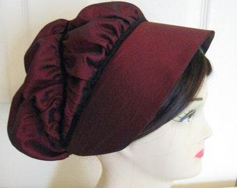 Regency Bonnet/Cap. Jane Austen.  MADE to ORDER. Wine/Black. Elizabeth Bennet. P+P