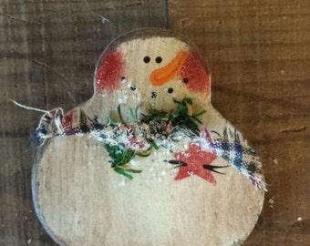 Primitive  Country Snowman Ornament,Primitive Snowmen,Painted Snowman, Country Snowman, Primitive Christmas Ornament, Wood Ornament