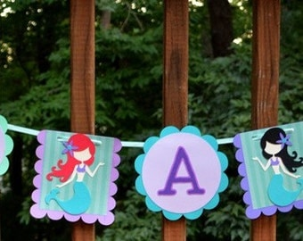 READY TO SHiP Mermaid Banner It's A Girl Baby Shower Banner Under the Sea Garland Mermaid Party Decor  Choose Hair Color Little Mermaid Baby