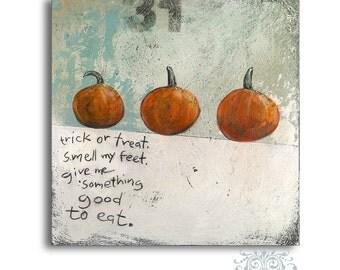 Halloween Wall Decor, Pumpkins Picture, Pumpkin Decor, Trick or Treat Halloween Art, Rustic Halloween Painting, Trick or Treat Sign
