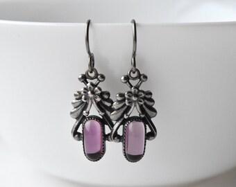 Purple Flower Earrings, Hypo Allergenic Niobium, Vintage Style Silver Flower Drops Earrings, UK Etsy