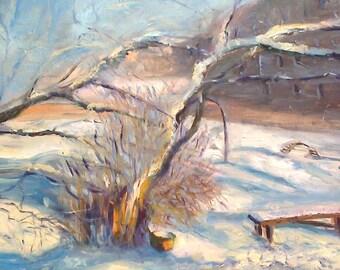 Beautiful winter .50 cm x 70 cm Original oil painting