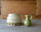 stoneware pottery set of 2  mini pitcher small planter pot  green yellow  vintage ceramic pottery  home decor