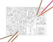 Christmas Bookmarks Coloring Page - Christmas decor elf typography bookmark set of 4 adult coloring page - Christmas ornaments village page