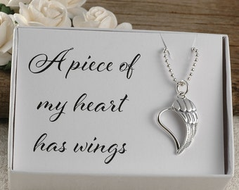 A piece of my heart has wings, memorial for dad, mom, sister, brother, aunt, uncle, baby, miscarriage, infant loss, sterling silver necklace