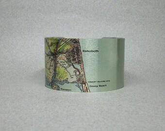 Rehoboth Dewey Beach Delaware Map Cuff Bracelet Unique Gift for Men or Women
