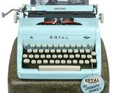 1956 Blue Royal Quiet De Luxe Typewriter / Professionally Serviced / Royal Typewriter / Working Typewriter / Something Blue / Writer Gift
