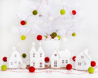 DIY Putz Village Ornament Kit Glitter House Christmas Decorations Putz House Craft Kit Set of 4