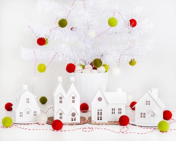 DIY Putz Village Ornament Kit Glitter House Christmas Decorations Putz House Craft Kit Set of 4
