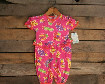 SUPER SALE - Vintage Little Girls Pink Animal Romper with Ruffles & Flowers Size 6-9 Months by Soupcon