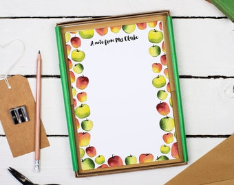 Apples Letter Writing Set - Writing Paper - Gift for Teacher - Teacher Stationery - Letter Writing Paper Sets - Apples Writing Paper Kit