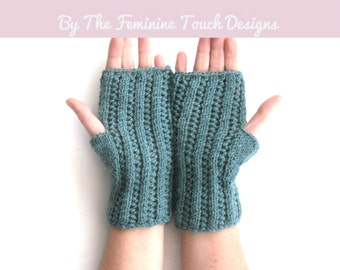 Knit these lace fingerless gloves , instructions and wool yarn to knit , ideal gift for knitters , choice of colours