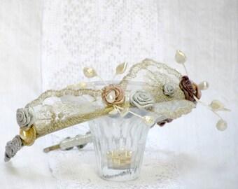 Silver lace bridal headband silk flower crown silver wedding headdress bridal lace headband vintage wedding headband bridal hair accessory