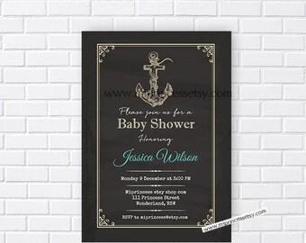anchor invitation, Nautical Baby Shower Invitation, chalkboard Retro baby shower invitation baby boy Shower Design - card 131