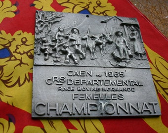 French Cattle Award Trophy Plaque 1965 Normandy Cattle