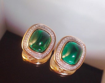 Ben-Amun Emerald Jewelry Vintage Costume Jewelry Huge Clip Ons Rare Beauty