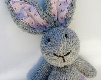 Bunny Rabbit Toy named Lucy Hand Knitted with Pink Twirly Party Skirt with Pompom Trim