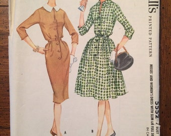 5552 1960's Women's Dress Vintage Sewing Pattern McCall's 5552 Bust 40